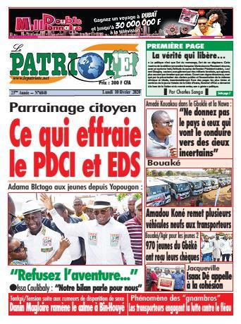 Couverture du Journal LE PATRIOTE N° 6040 du 10/02/2020
