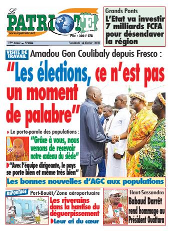 Couverture du Journal LE PATRIOTE N° 6044 du 14/02/2020