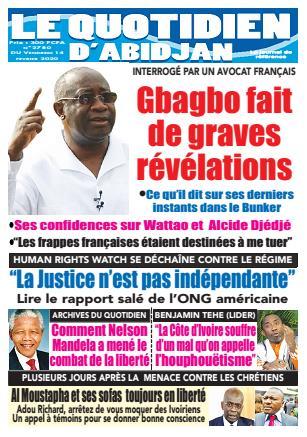 Couverture du Journal LE QUOTIDIEN D'ABIDJAN N° 2780 du 14/02/2020