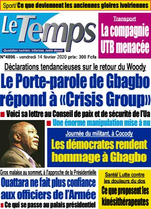 Couverture du Journal LE TEMPS N° 4896 du 14/02/2020