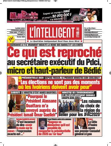 Couverture du Journal L'INTELLIGENT D'ABIDJAN N° 4603 du 14/02/2020