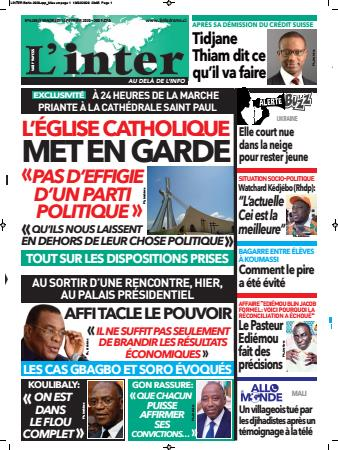 Couverture du Journal L'INTER N° 6489 du 14/02/2020