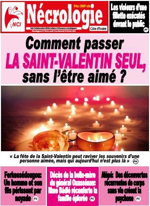 Couverture du Journal NECROLOGIE CÔTE D'IVOIRE N° 139 du 14/02/2020