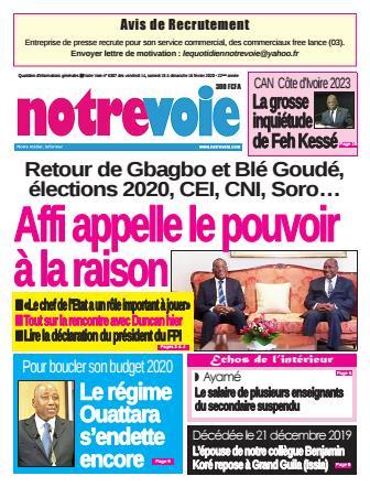 Couverture du Journal NOTRE VOIE N° 6307 du 14/02/2020