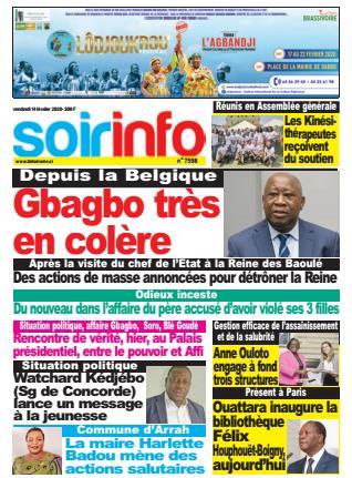 Couverture du Journal SOIR INFO N° 7598 du 14/02/2020
