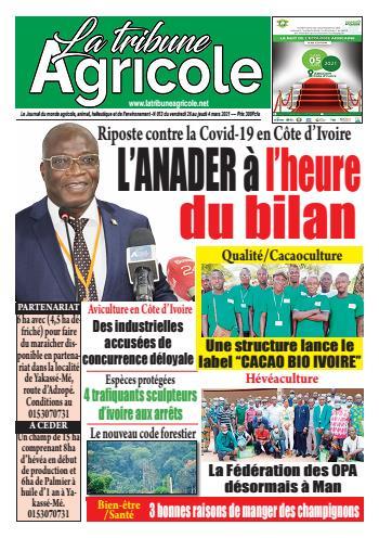 Couverture du Journal La Tribune Agricole N° 13 du 27/02/2021