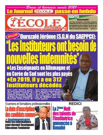 Couverture du Journal L'Ecole N° 15 du 04/02/2021