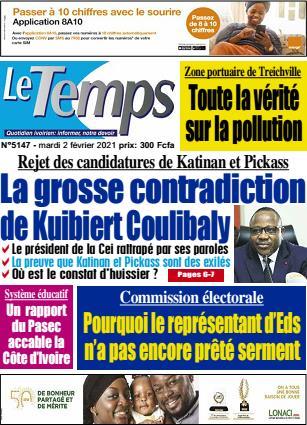 Couverture du Journal LE TEMPS N° 5148 du 02/02/2021