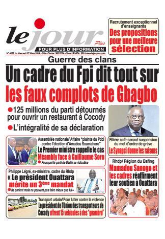 Couverture du Journal LE JOUR PLUS N° 4057 du 27/03/2019