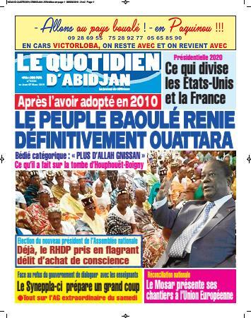 Couverture du Journal LE QUOTIDIEN D'ABIDJAN N° 2601 du 15 ...