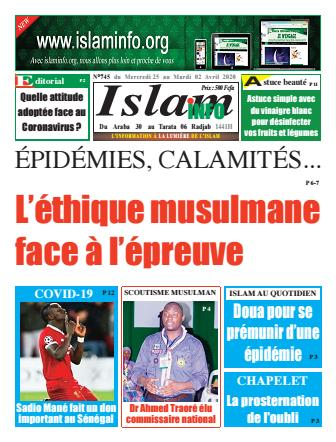 Couverture du Journal ISLAM INFO N° 754 du 24/03/2020