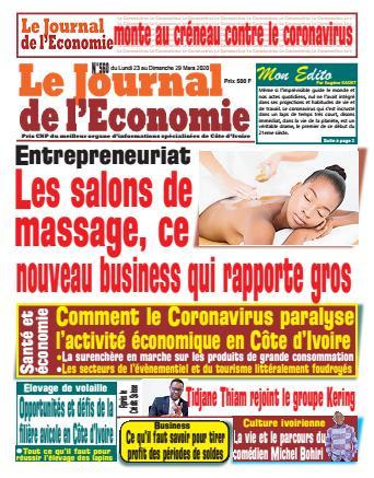 Couverture du Journal LE JOURNAL DE L'ÉCONOMIE N° 561 du 23/03/2020