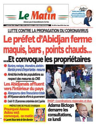 Couverture du Journal LE MATIN N° 203 du 23/03/2020