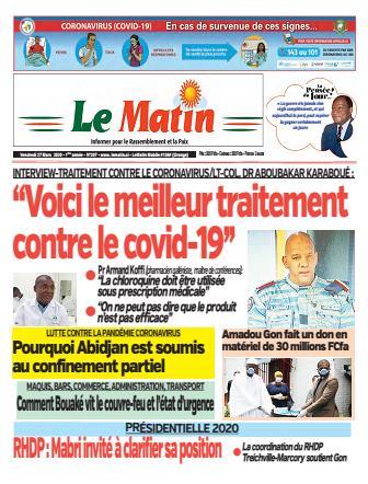 Couverture du Journal LE MATIN N° 207 du 27/03/2020