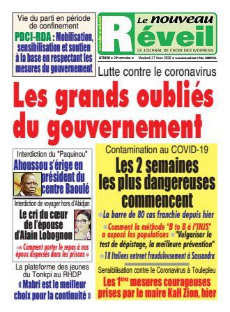 Couverture du Journal LE NOUVEAU RÉVEIL N° 5428 du 27/03/2020