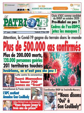 Couverture du Journal LE PATRIOTE N° 6080 du 27/03/2020