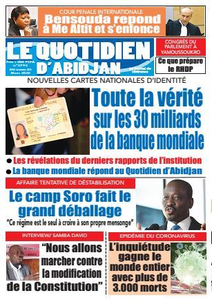 Couverture du Journal LE QUOTIDIEN D'ABIDJAN N° 2793 du 03 ...