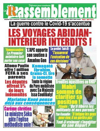 Couverture du Journal LE RASSEMBLEMENT N° 432 du 27/03/2020