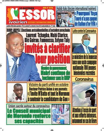 Couverture du Journal L'ESSOR IVOIRIEN N° 323 du 27/03/2020