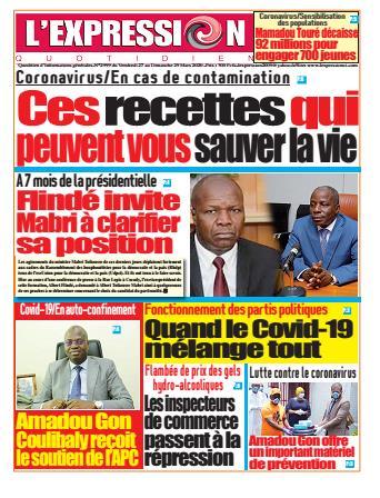 Couverture du Journal L'EXPRESSION N° 2999 du 27/03/2020