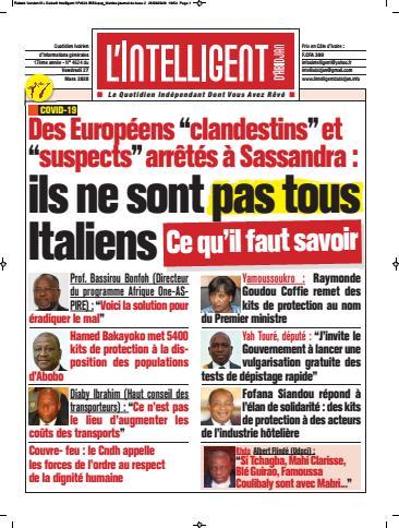 Couverture du Journal L'INTELLIGENT D'ABIDJAN N° 4628 du 27/03/2020