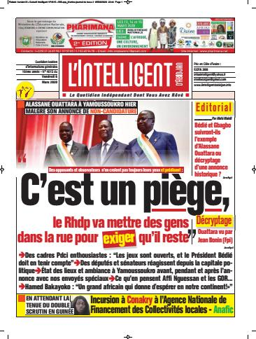 Couverture du Journal L'INTELLIGENT D'ABIDJAN N° 4616 du 06/03/2020