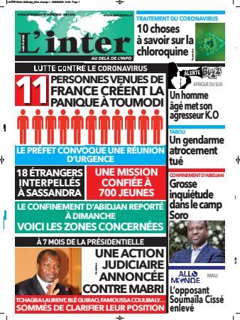 Couverture du Journal L'INTER N° 6524 du 27/03/2020