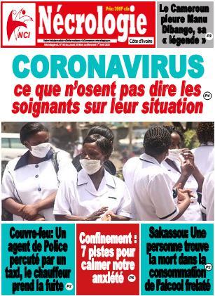 Couverture du Journal NECROLOGIE CÔTE D'IVOIRE N° 145 du 26/03/2020