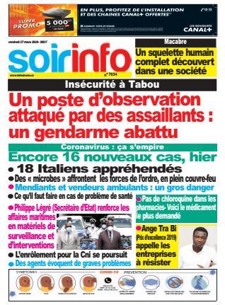 Couverture du Journal SOIR INFO N° 7634 du 27/03/2020