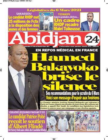 Couverture du Journal ABIDJAN 24 N° 1109 du 02/03/2021