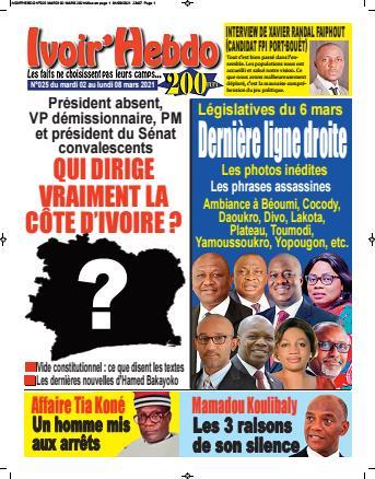 Couverture du Journal IVOIR'HEBDO N° 25 du 02/03/2021