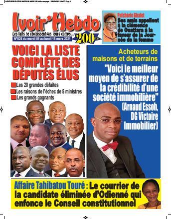 Couverture du Journal IVOIR'HEBDO N° 26 du 09/03/2021