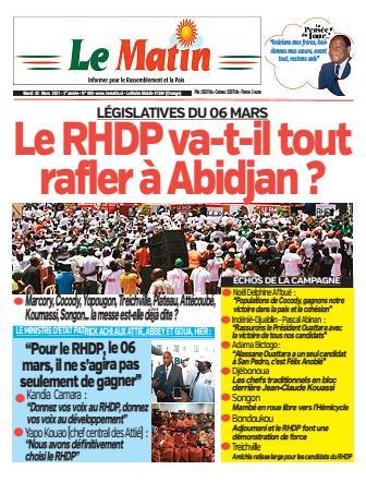Couverture du Journal LE MATIN N° 480 du 02/03/2021