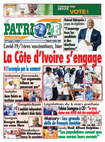 Couverture du Journal LE PATRIOTE N° 6352 du 02/03/2021
