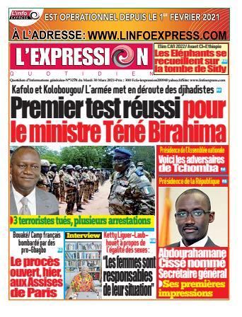 Couverture du Journal L'EXPRESSION N° 3278 du 30/03/2021