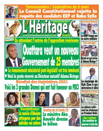 Couverture du Journal L'HÉRITAGE N° 390 du 23/03/2021