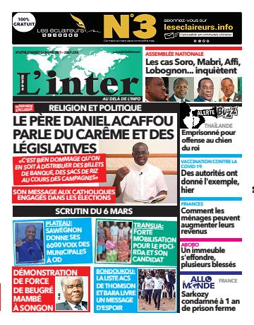 Couverture du Journal L'INTER N° 6798 du 02/03/2021