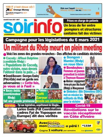 Couverture du Journal SOIR INFO N° 7908 du 02/03/2021