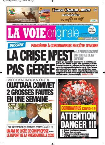 Couverture du Journal LA VOIE ORIGINALE N° 445 du 06/04/2020