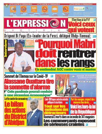 Couverture du Journal L'EXPRESSION N° 3021 du 28/04/2020
