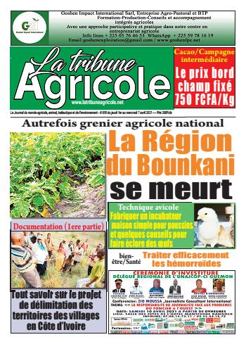 Couverture du Journal La Tribune Agricole N° 18 du 02/04/2021