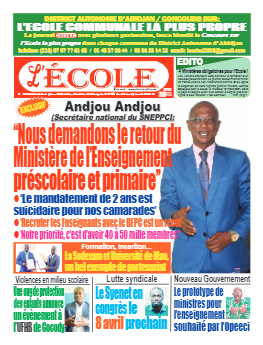 Couverture du Journal L'Ecole N° 23 du 06/04/2021