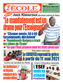 Couverture du Journal L'Ecole N° 27 du 03/05/2021