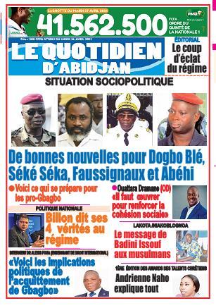 Couverture du Journal LE QUOTIDIEN D'ABIDJAN N° 3082 du 26/04/2021