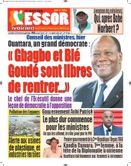 Couverture du Journal L'ESSOR IVOIRIEN N° 575 du 08/04/2021
