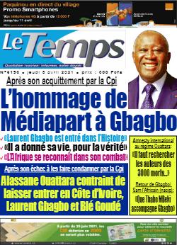 Couverture du Journal LE TEMPS N° 5193 du 08/04/2021