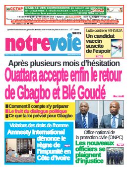 Couverture du Journal NOTRE VOIE N° 6596 du 08/04/2021
