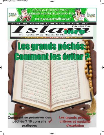 Couverture du Journal ISLAM INFO N° 798 du 02/04/2021