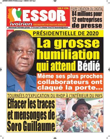 Couverture du Journal L'ESSOR IVOIRIEN N° 120 du 13/05/2019