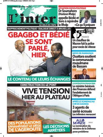 Couverture du Journal L'INTER N° 6260 du 08/05/2019